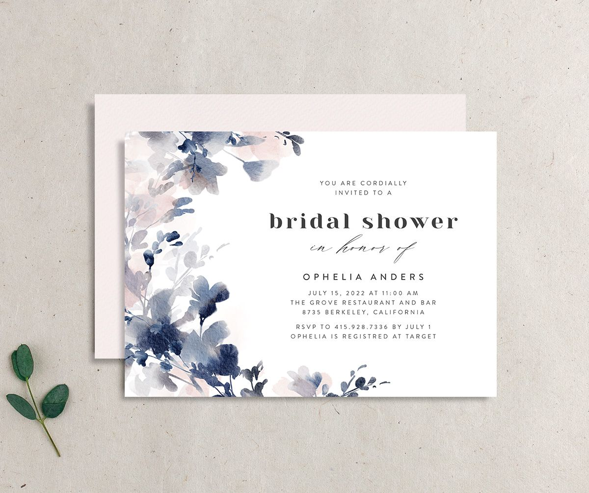 Watercolor Blooms bridal shower invitation navy