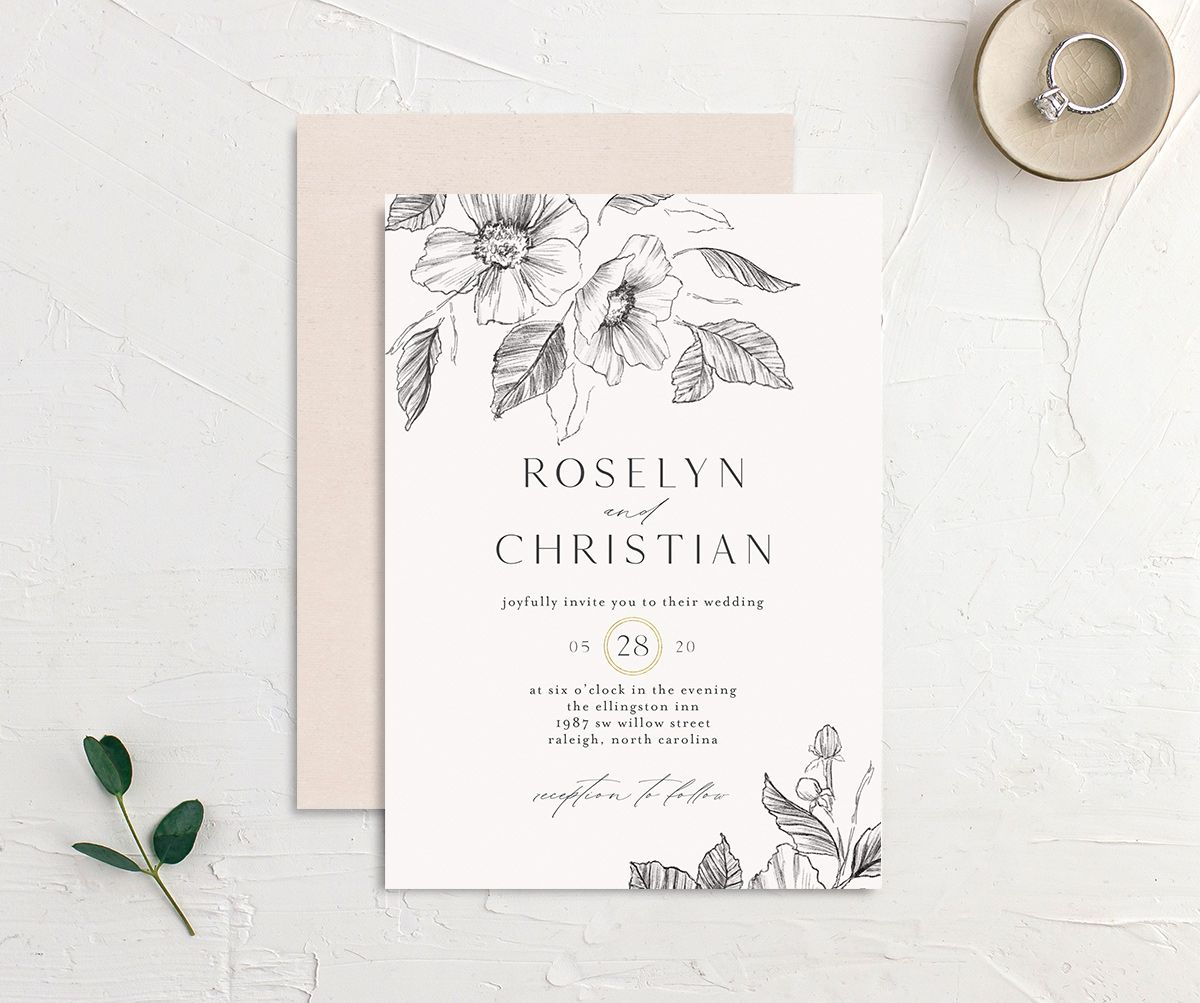 Botanical Floral wedding invitation front and back