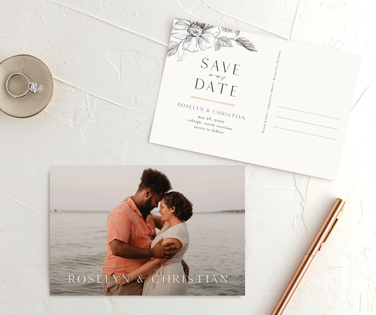 Botanical Floral save the date postcard front and back