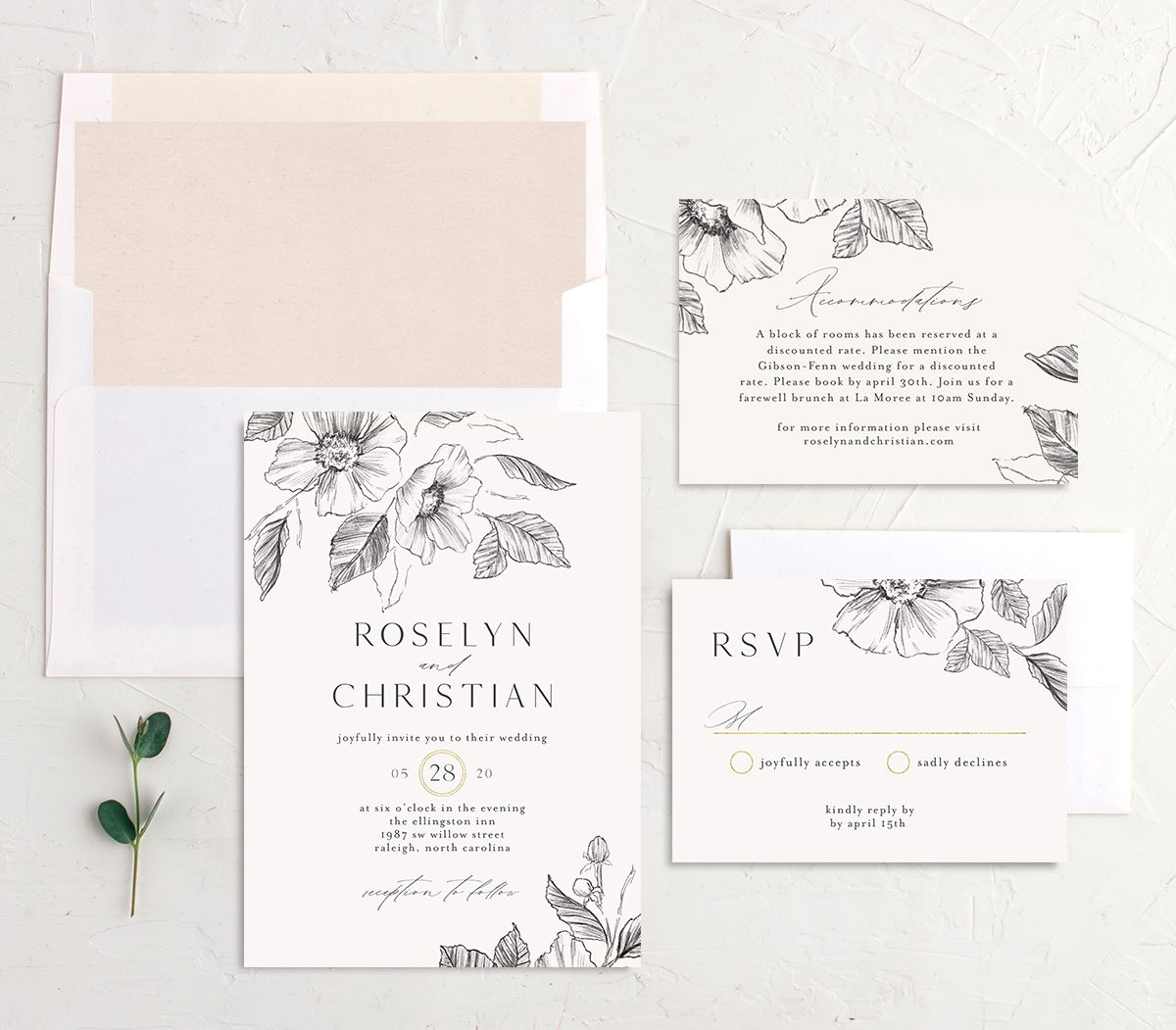 Botanical Floral wedding invitation suite
