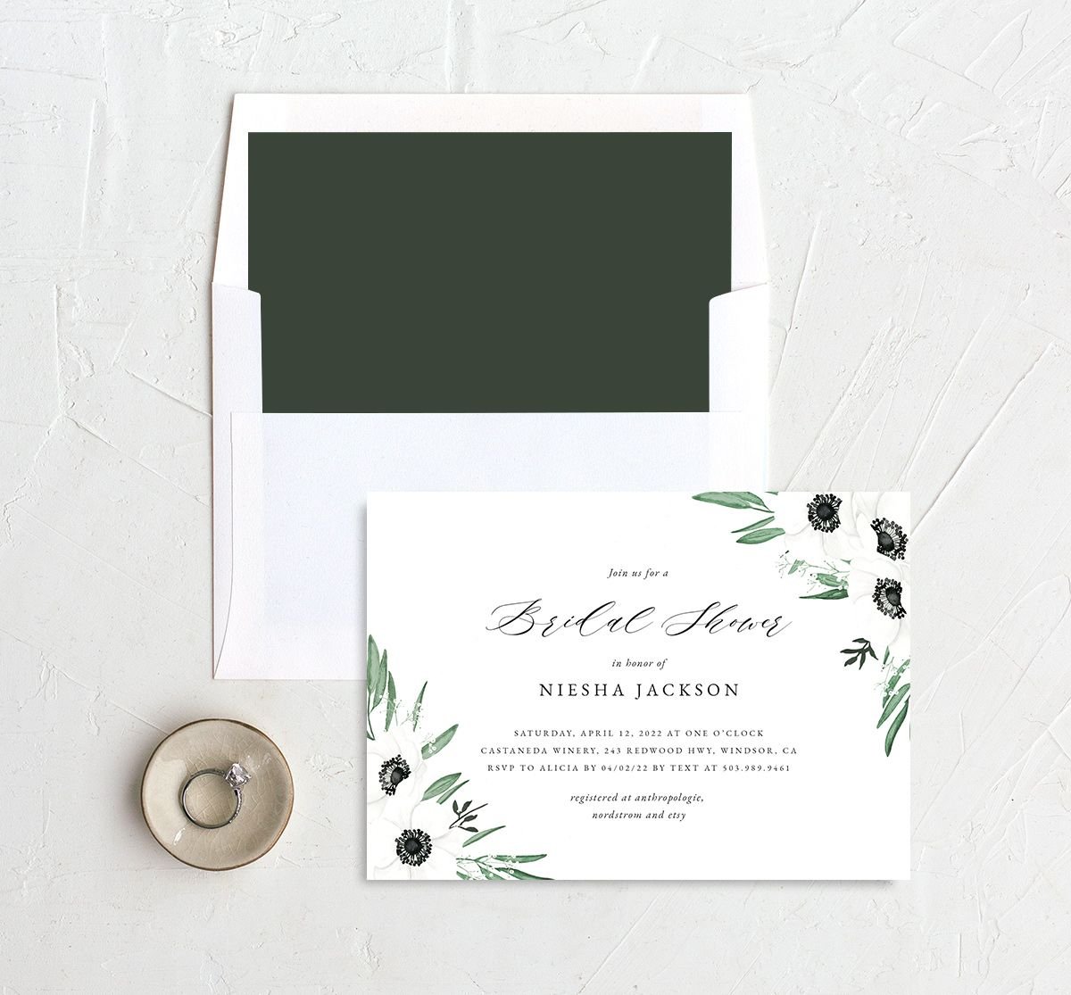 Classic Anemone bridal shower invitation with liner