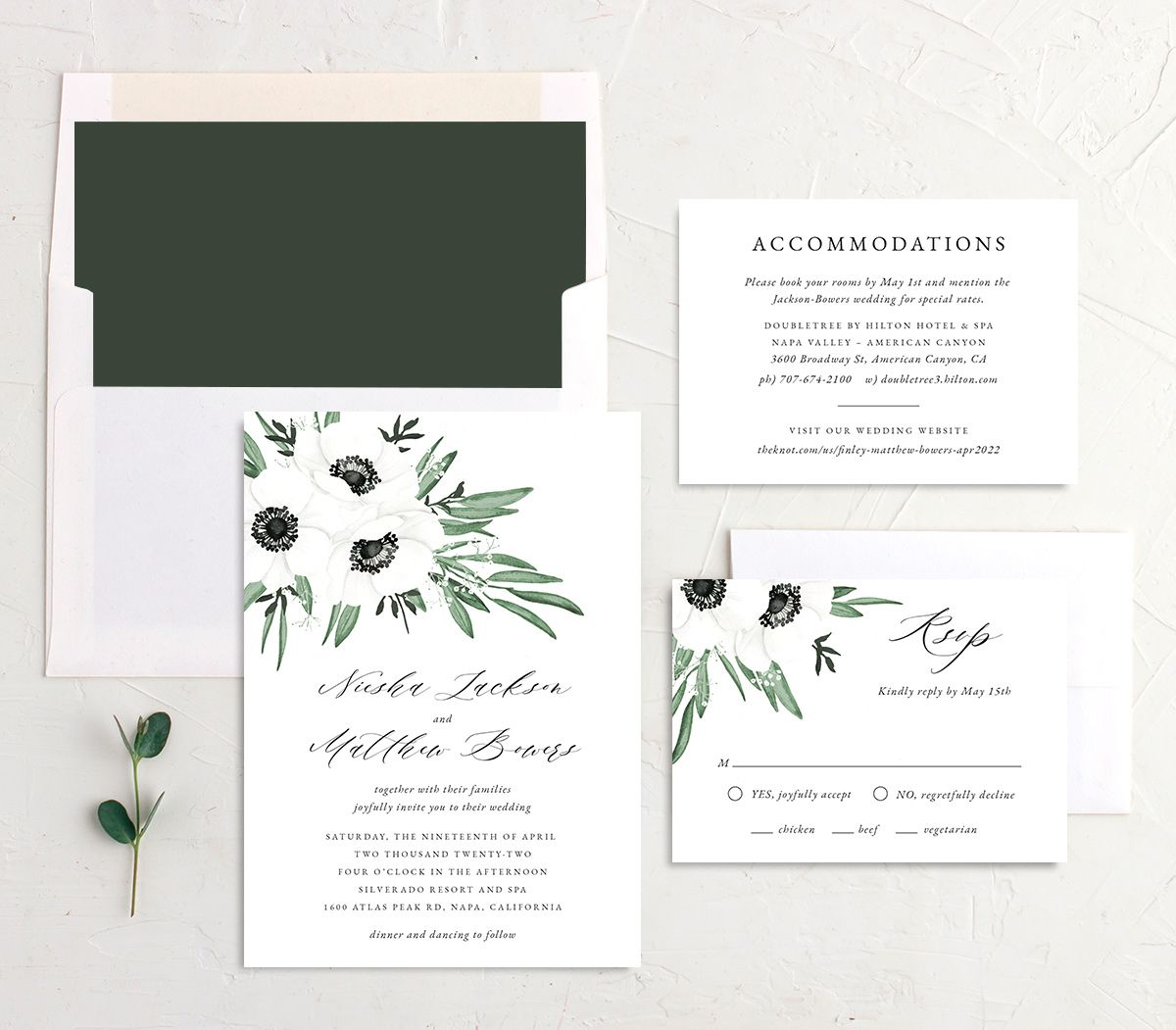 Classic Anemone wedding invitation suite
