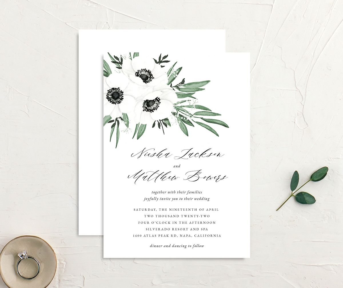 Classic Anemone wedding invitation front and back
