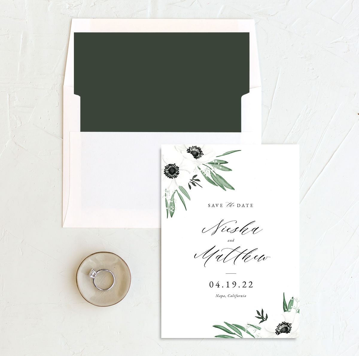 Classic Anemone save the date with liner
