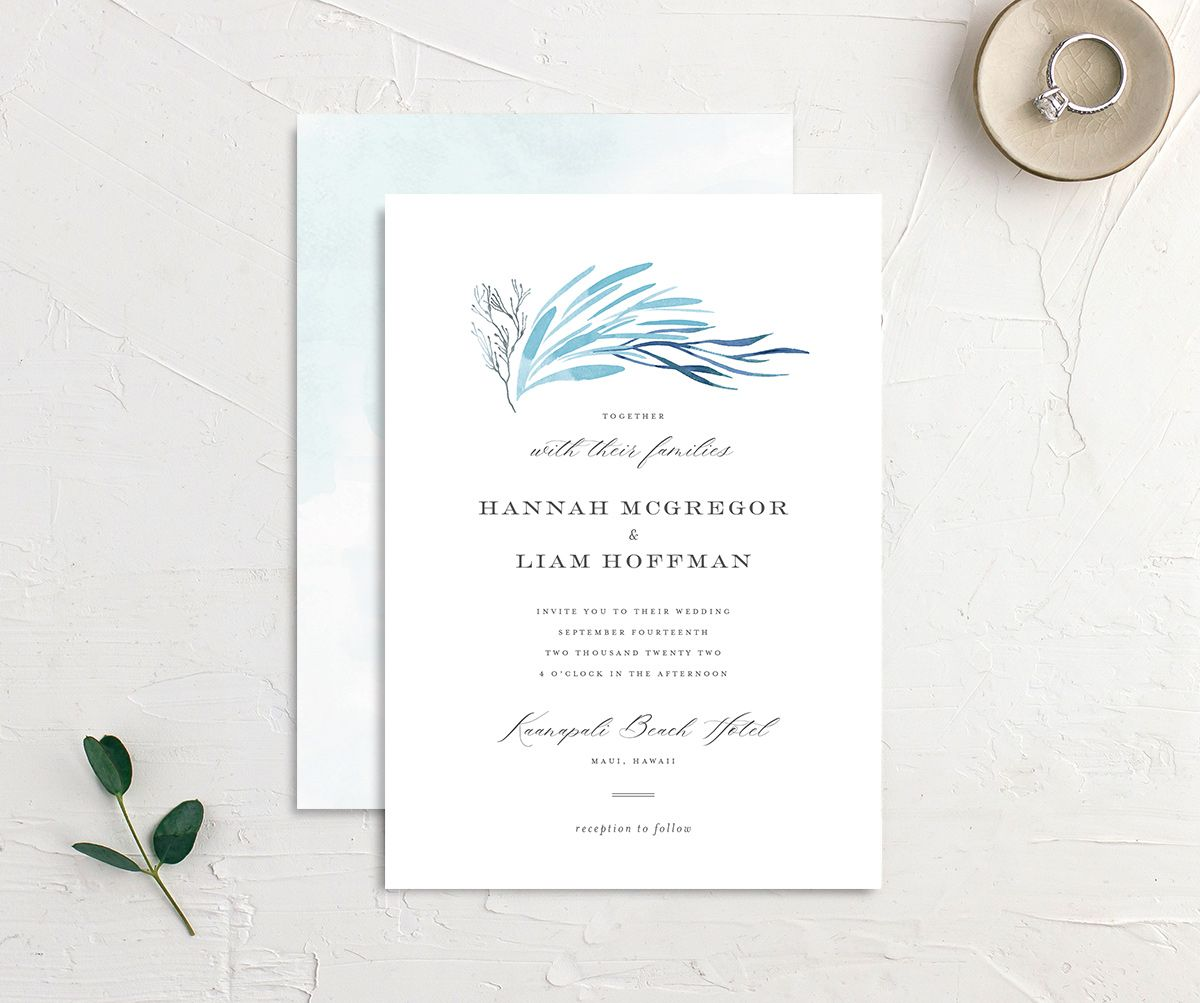 Elegant Beach wedding invitation front and back blue