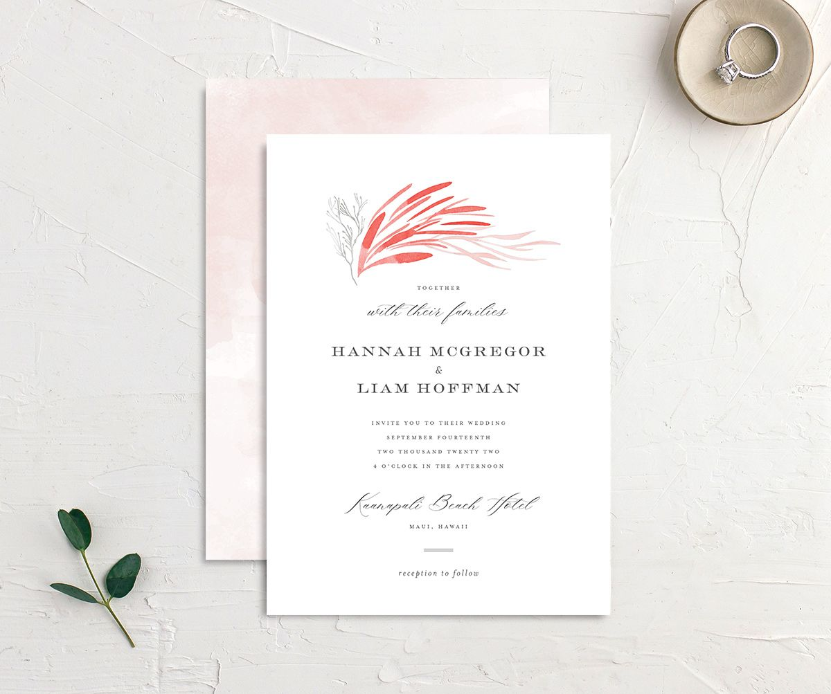 Elegant Beach wedding invitation front and back pink