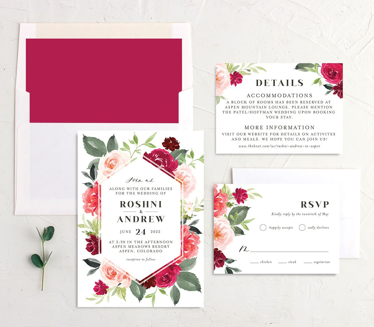 Vibrant Floral wedding invitation suite pink