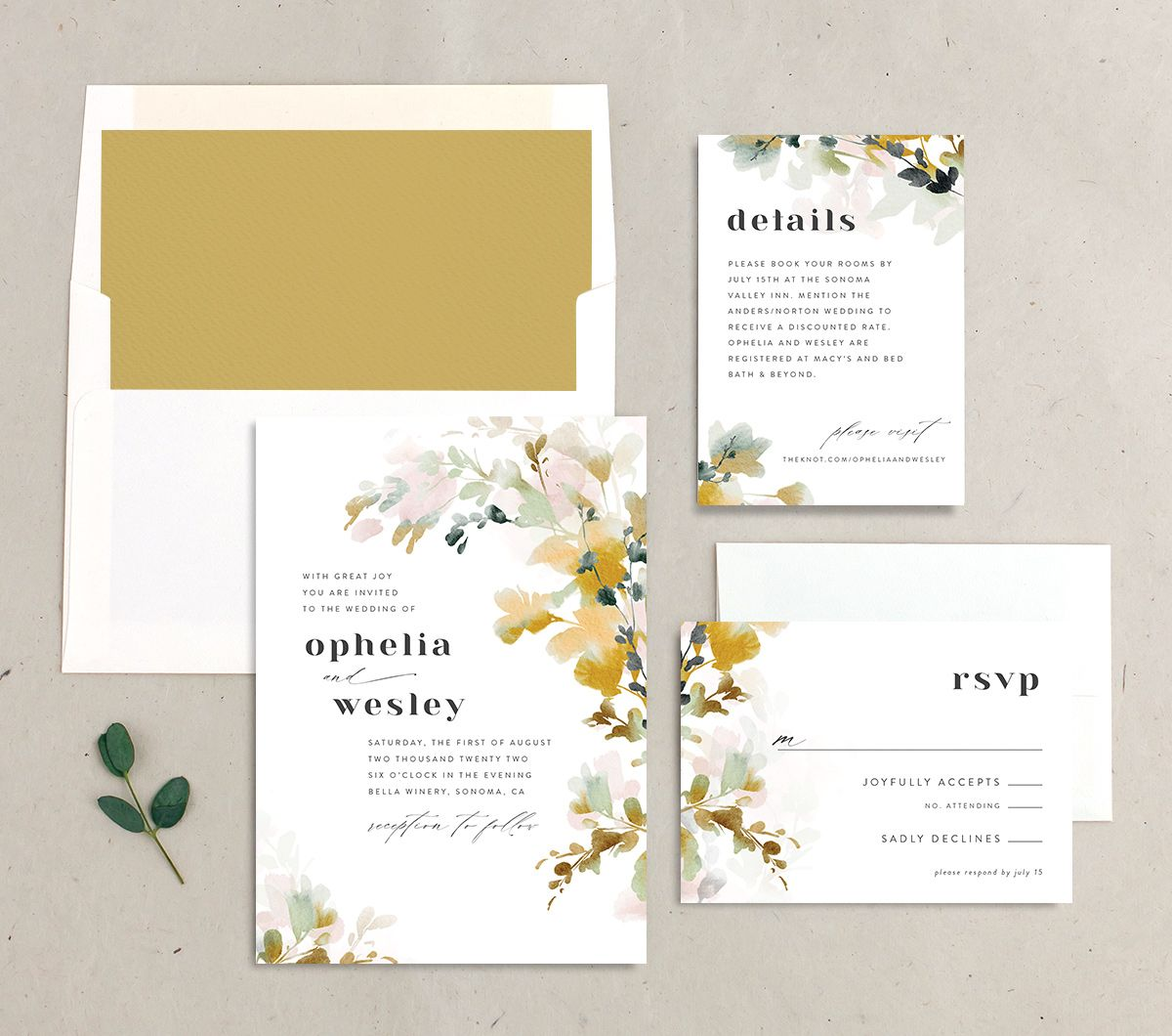 Watercolor Blooms wedding invitation suite gold