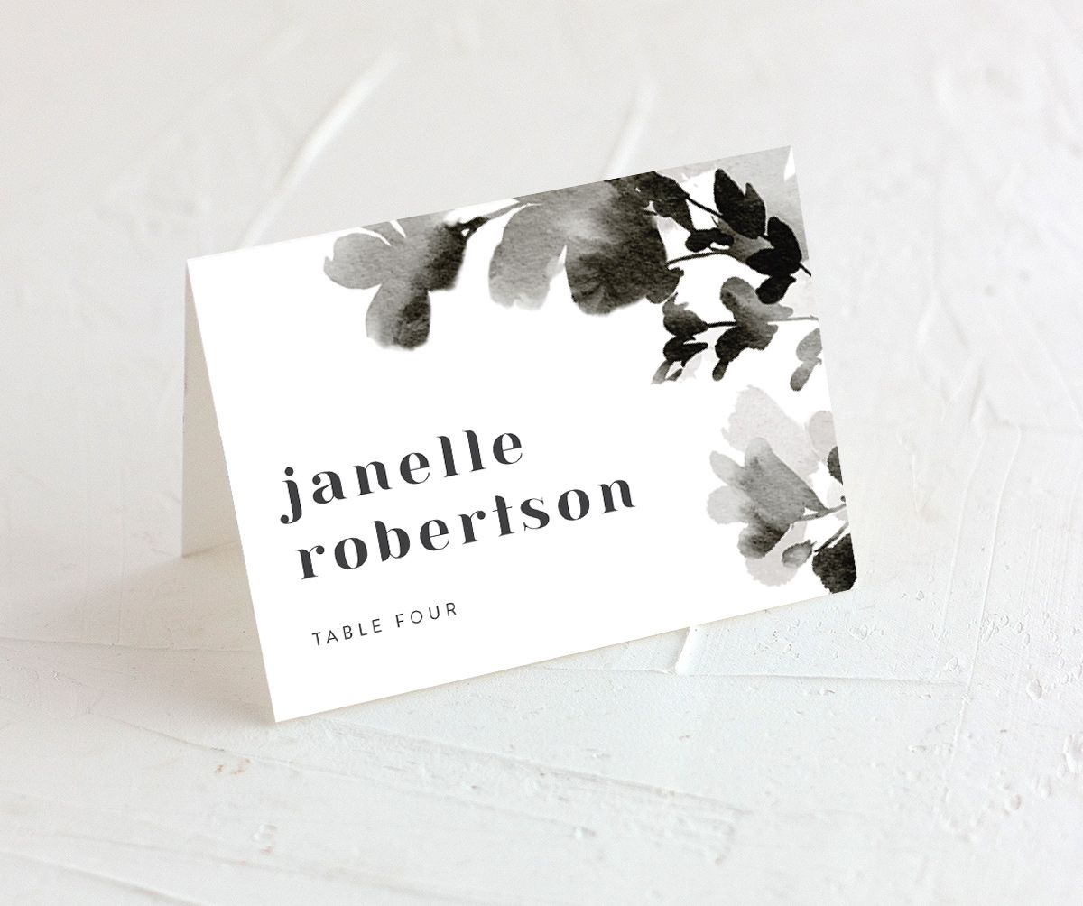 Watercolor Blooms place card black