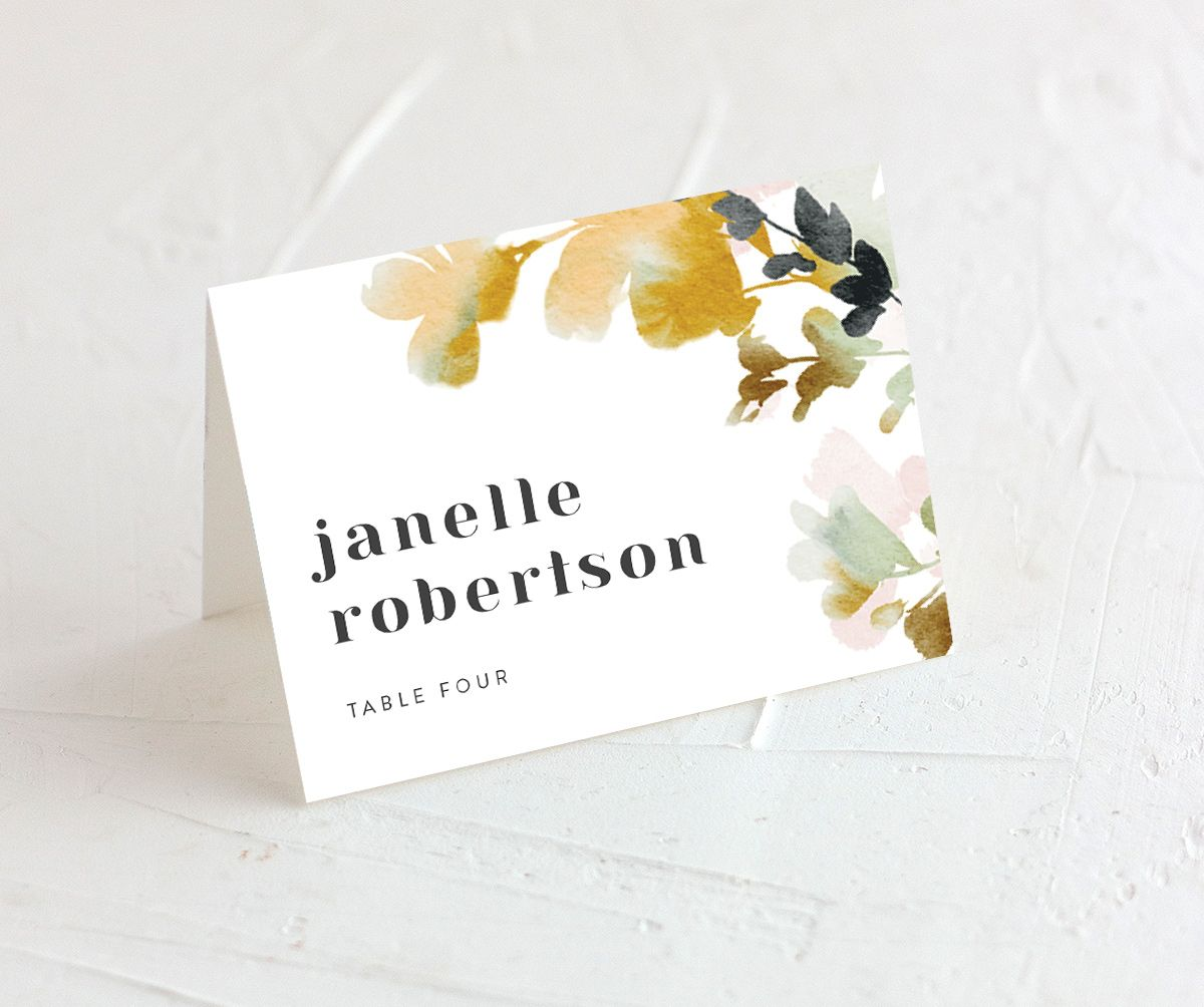 Watercolor Blooms place card gold