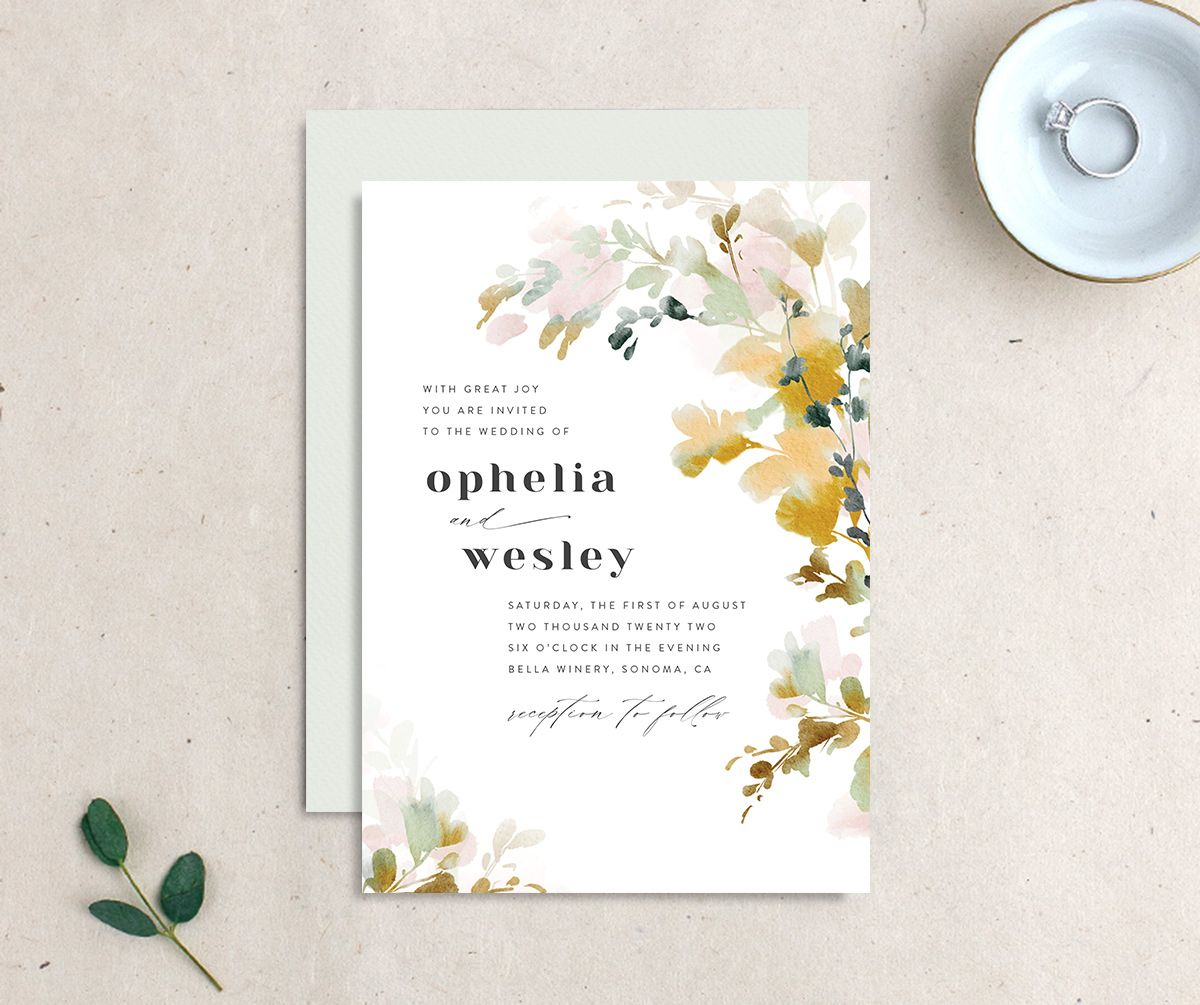 Watercolor Blooms wedding invitation gold