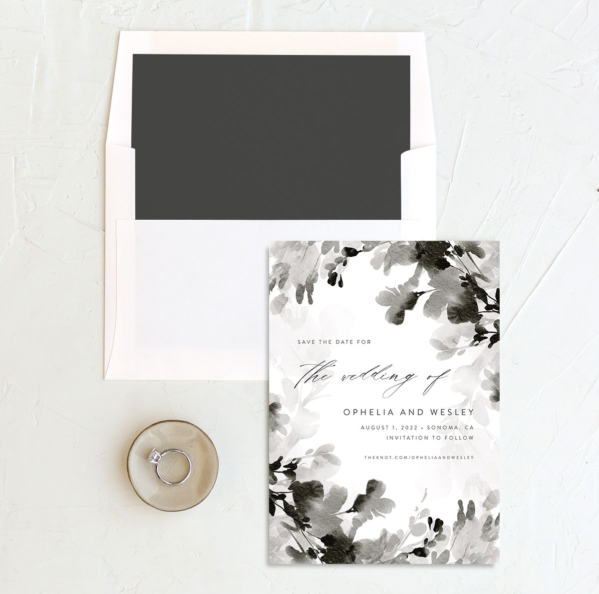 Watercolor Blooms save the date with liner black