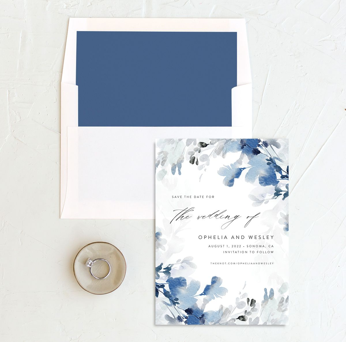 Watercolor Blooms save the date with liner blue
