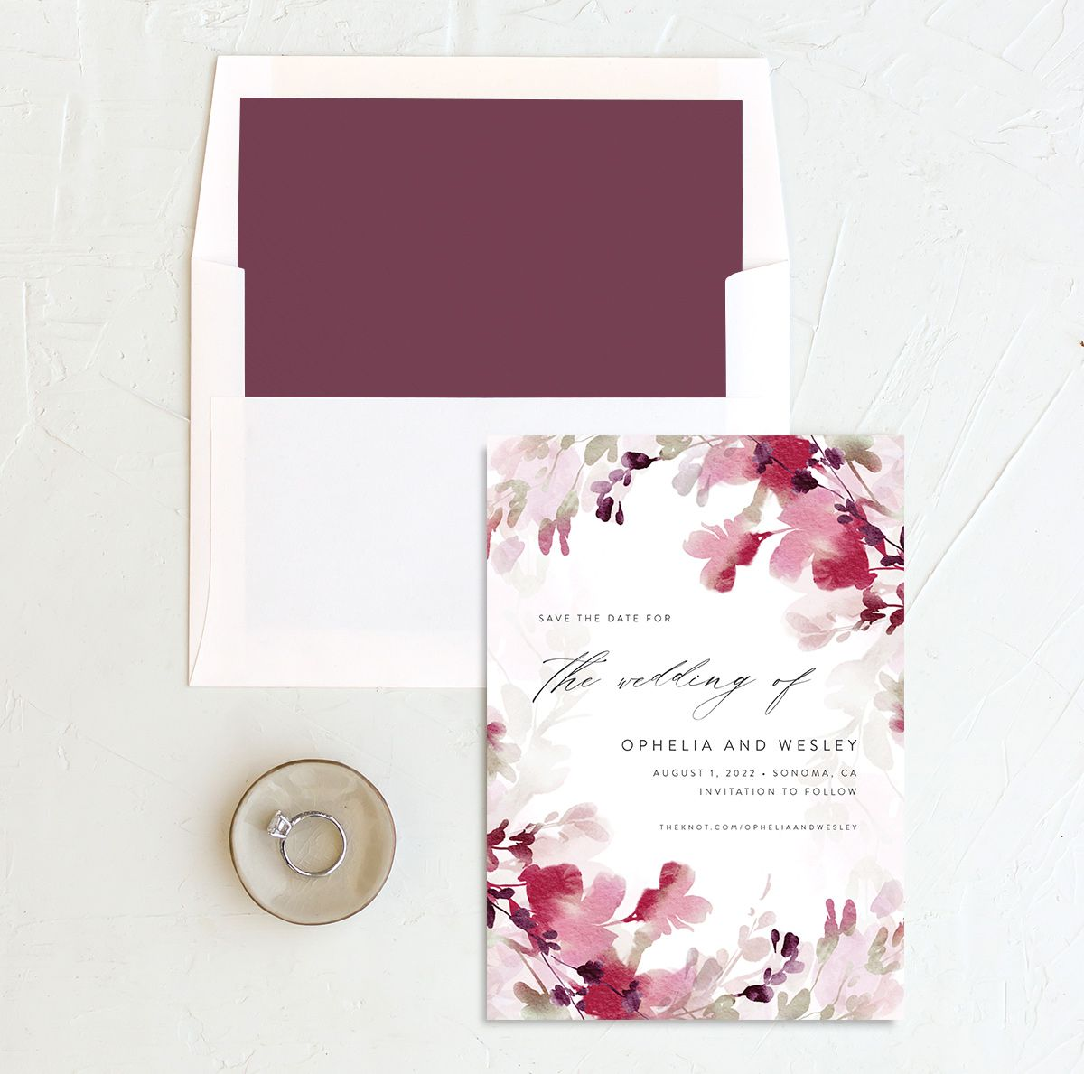 Watercolor Blooms save the date with liner burgundy