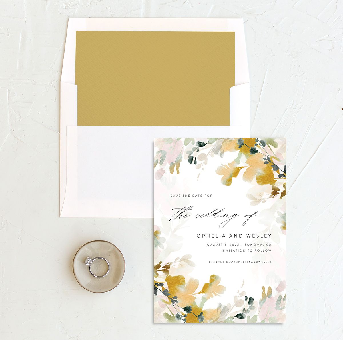 Watercolor Blooms save the date with liner gold