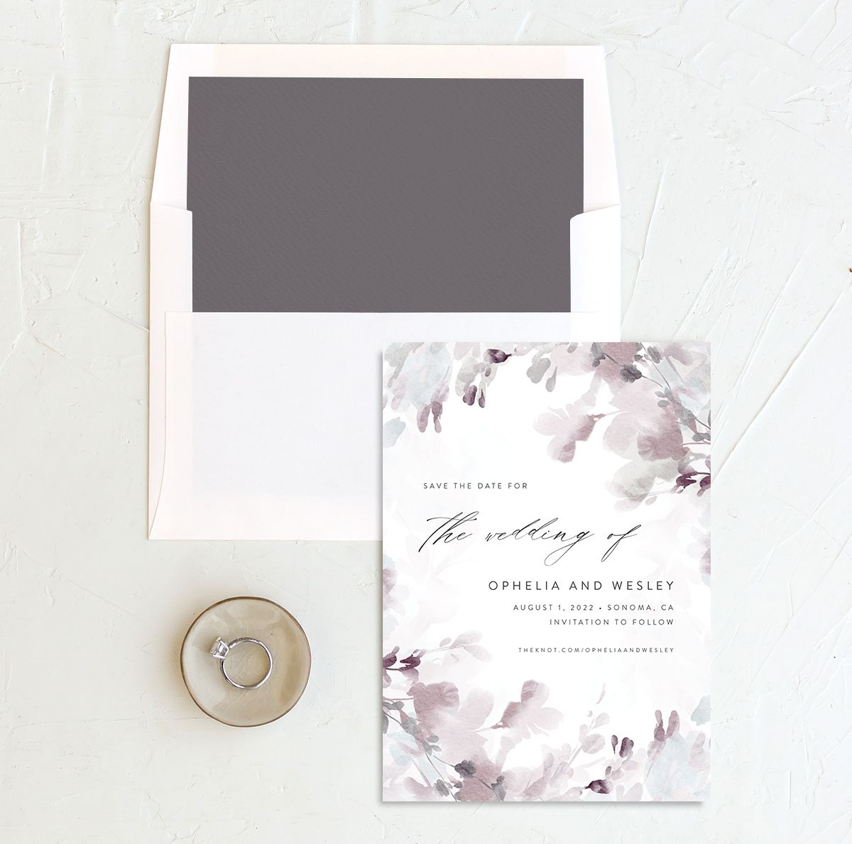 Watercolor Blooms save the date with liner gray