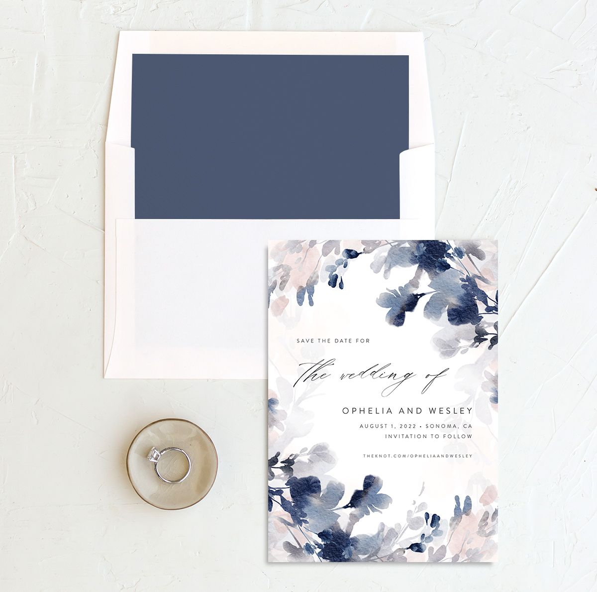 Watercolor Blooms save the date with liner navy