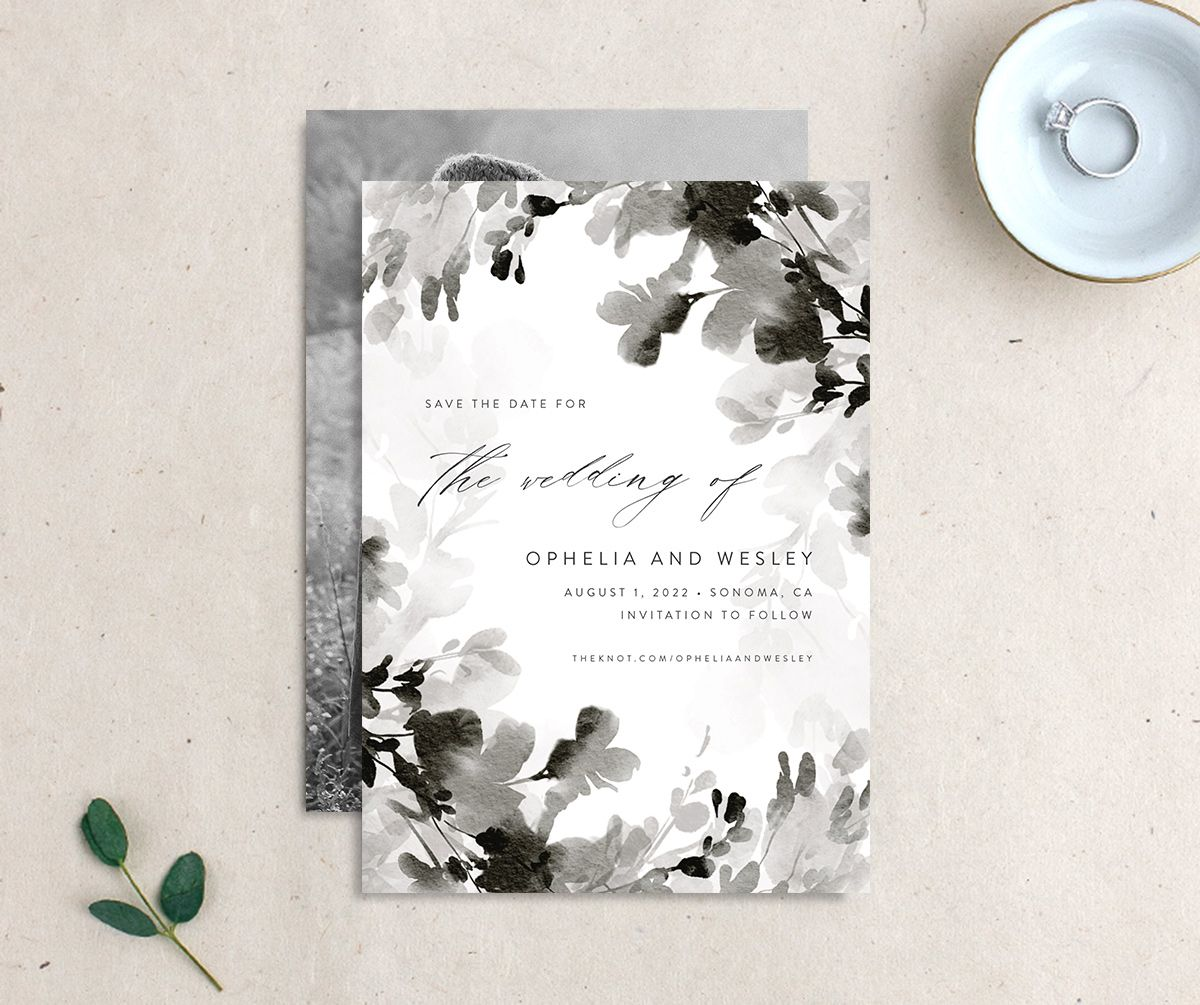 Watercolor Blooms save the date black