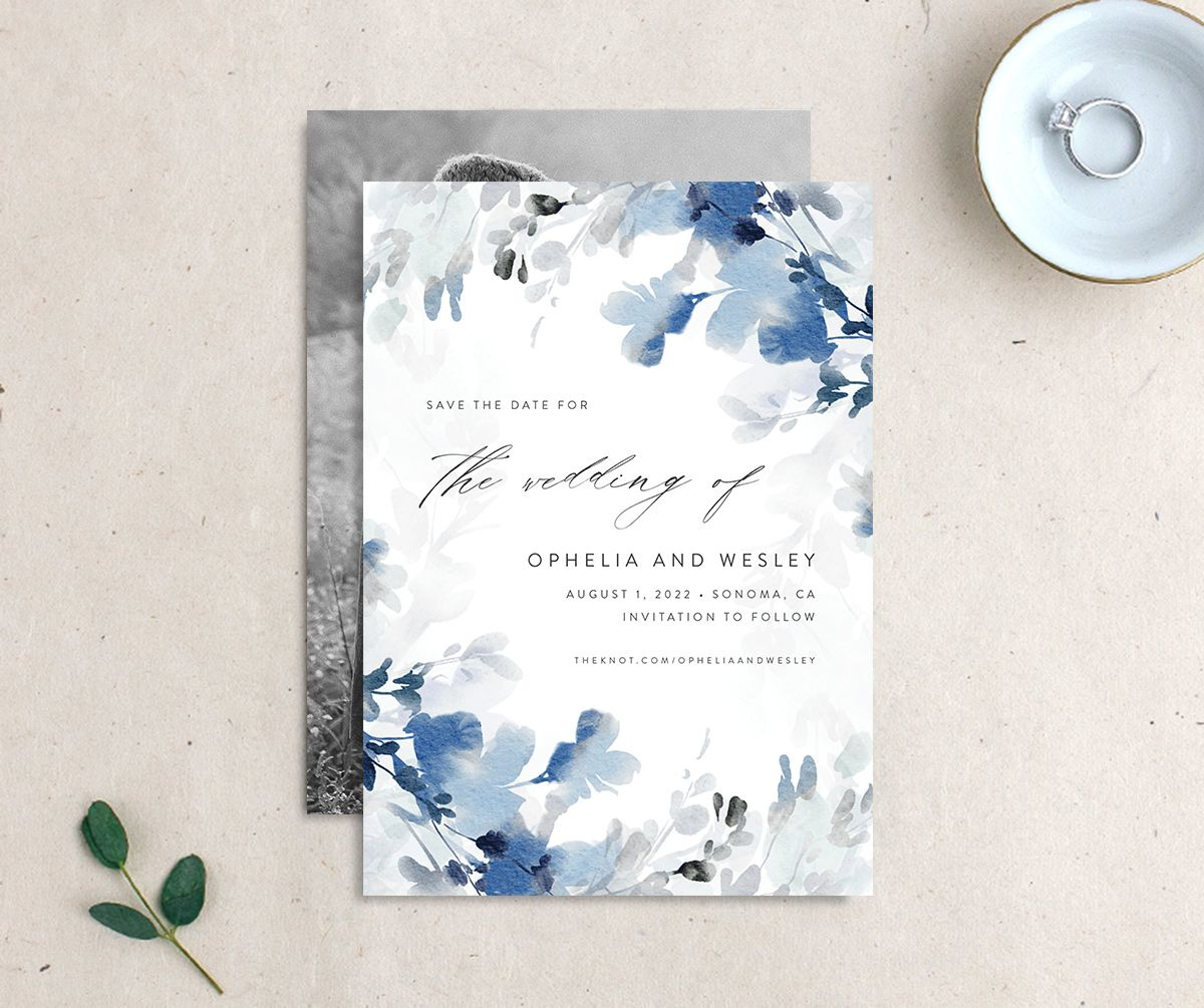 Watercolor Blooms save the date blue