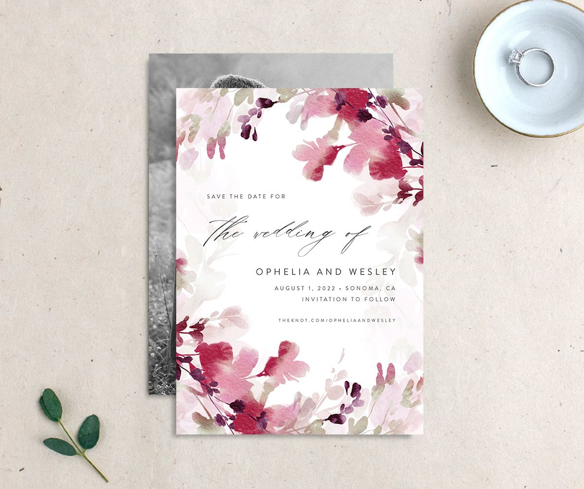 Watercolor Blooms save the date burgundy