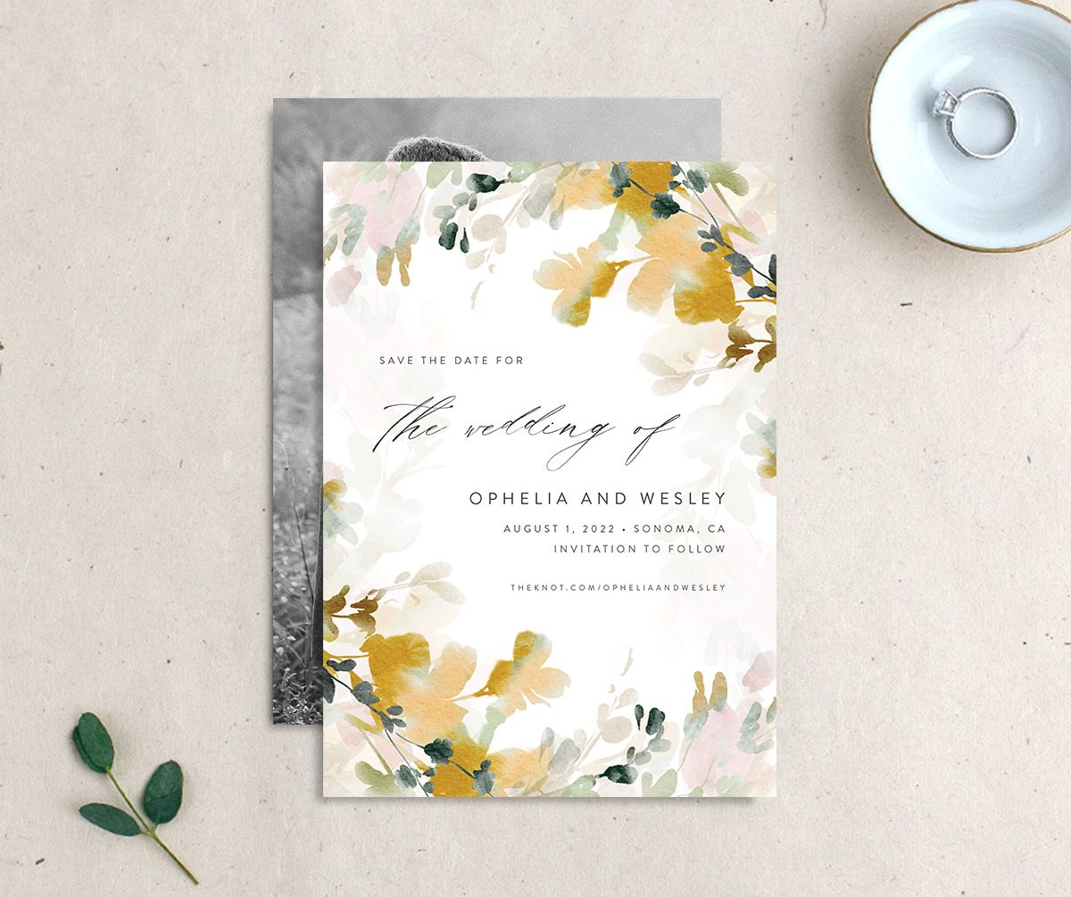 Watercolor Blooms save the date gold