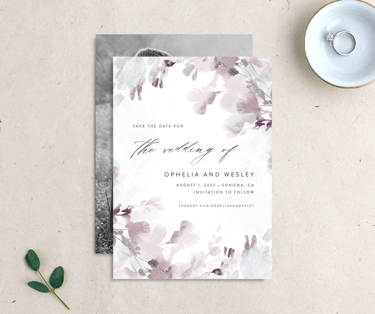 Watercolor Blooms save the date gray