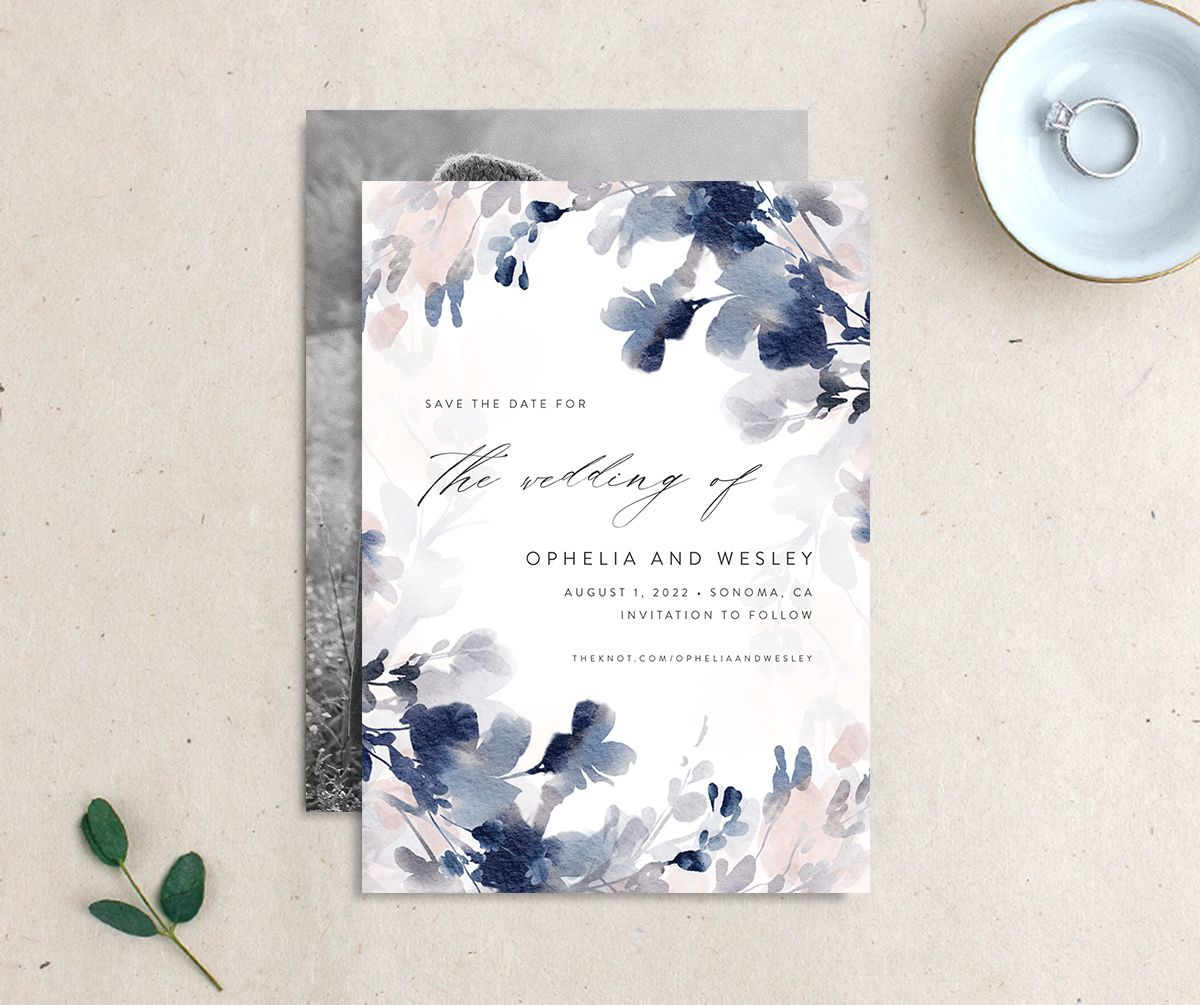 Watercolor Blooms save the date navy