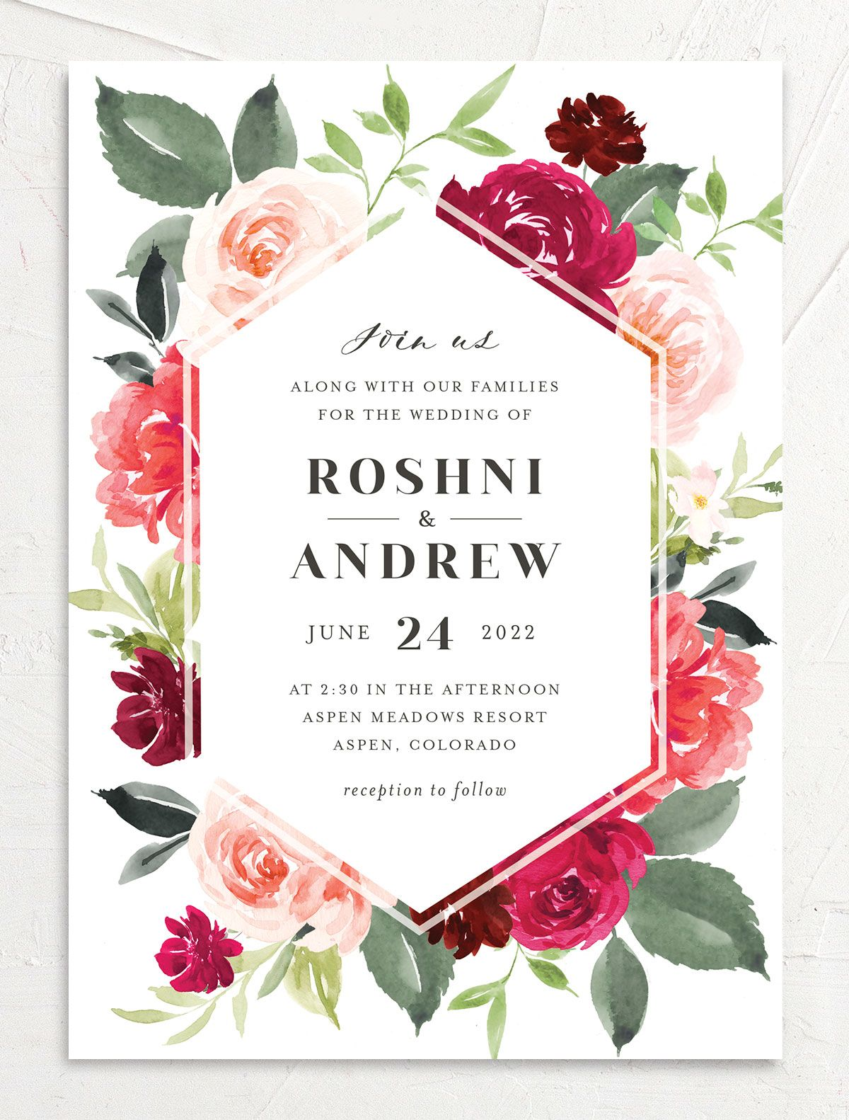 Vibrant Floral wedding invite closeup front in pink