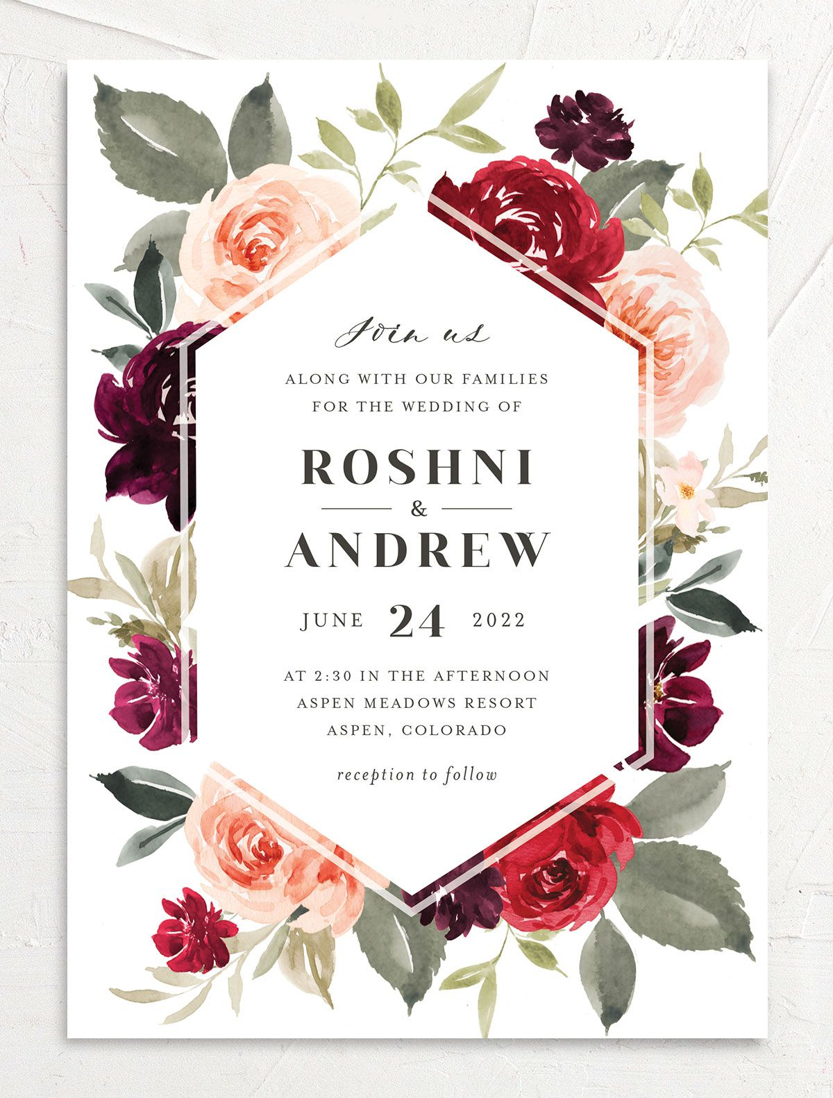 Vibrant Floral wedding invite closeup front in red