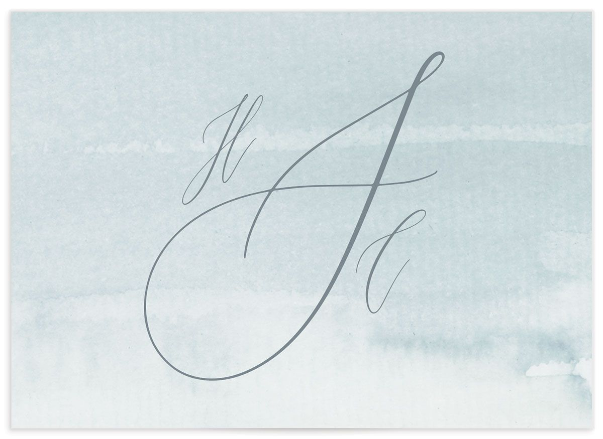 Dusted Calligraphy Wedding Enclosure Card Back Blue