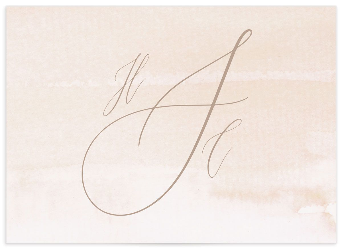 Dusted Calligraphy Wedding Enclosure Card Back Pink