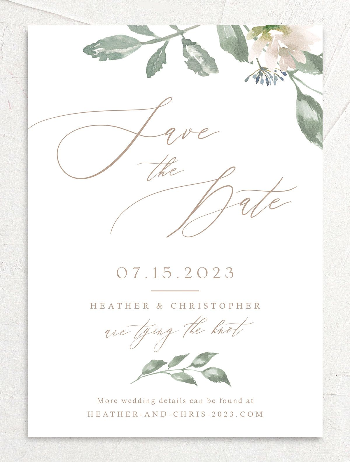 Dusted Calligraphy Wedding Save the Date Card Front Pink