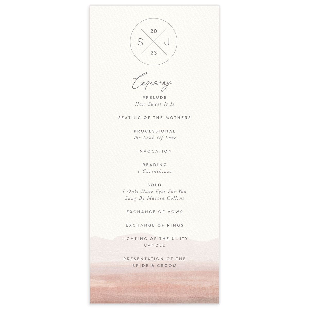 Painted Desert Wedding Program Front Pink