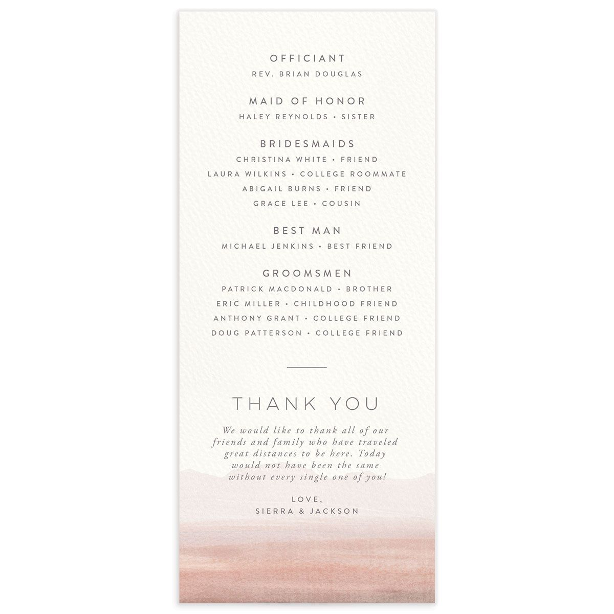 Painted Desert Wedding Program Back Pink
