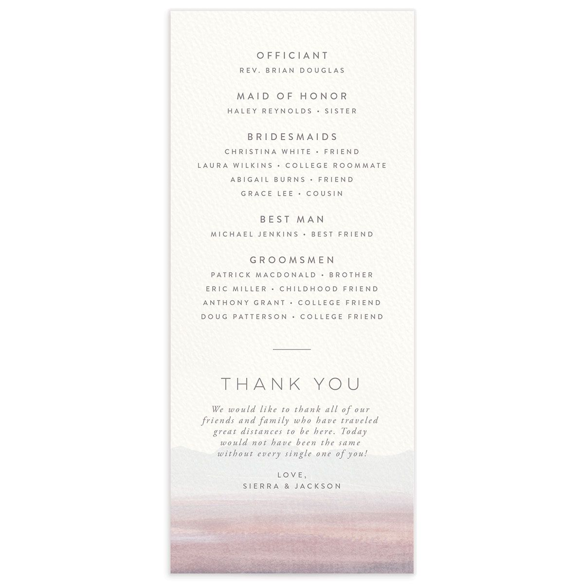 Painted Desert Wedding Program Back Purple