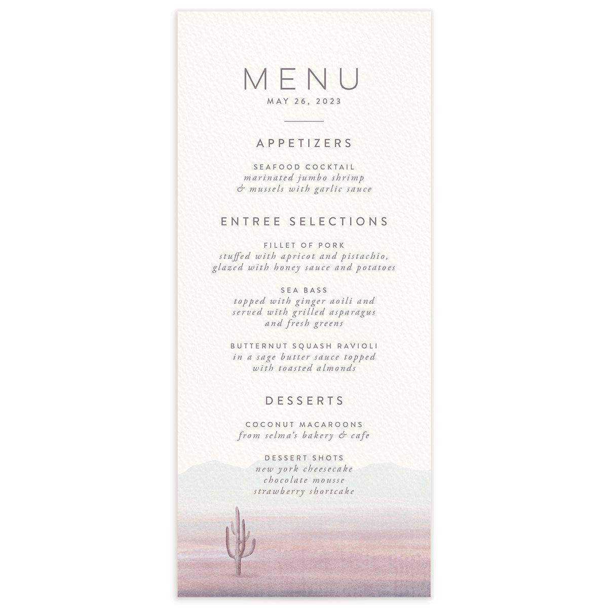 Painted Desert Wedding Menu Front Purple