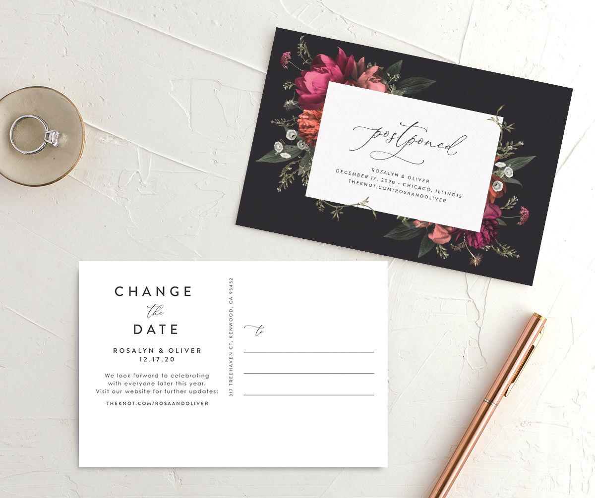 Blooming Botanical change the date postcard black