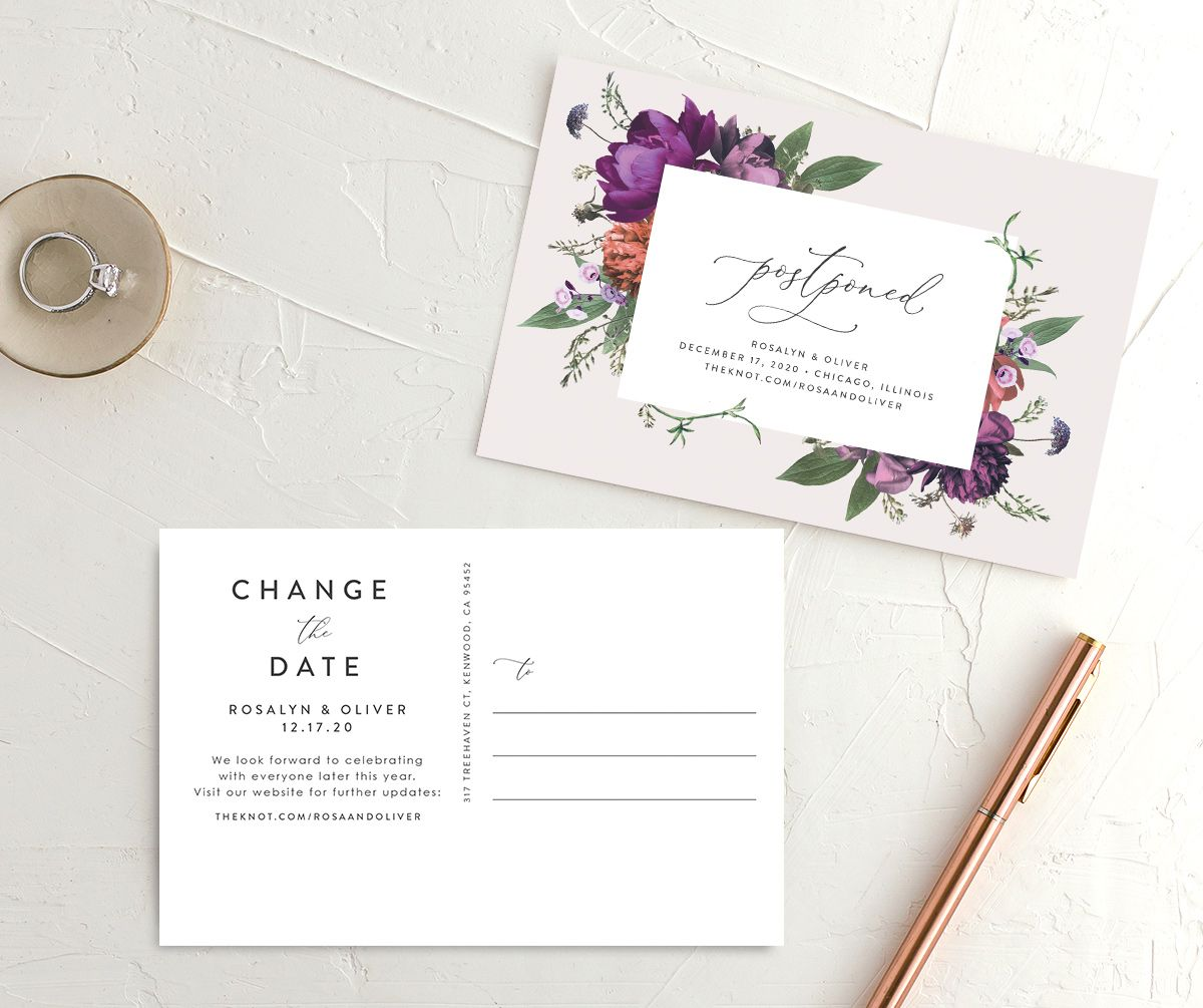 Blooming Botanical change the date postcard purple