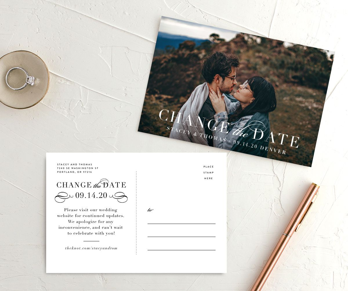 Classic Date wedding Change the Date postcard