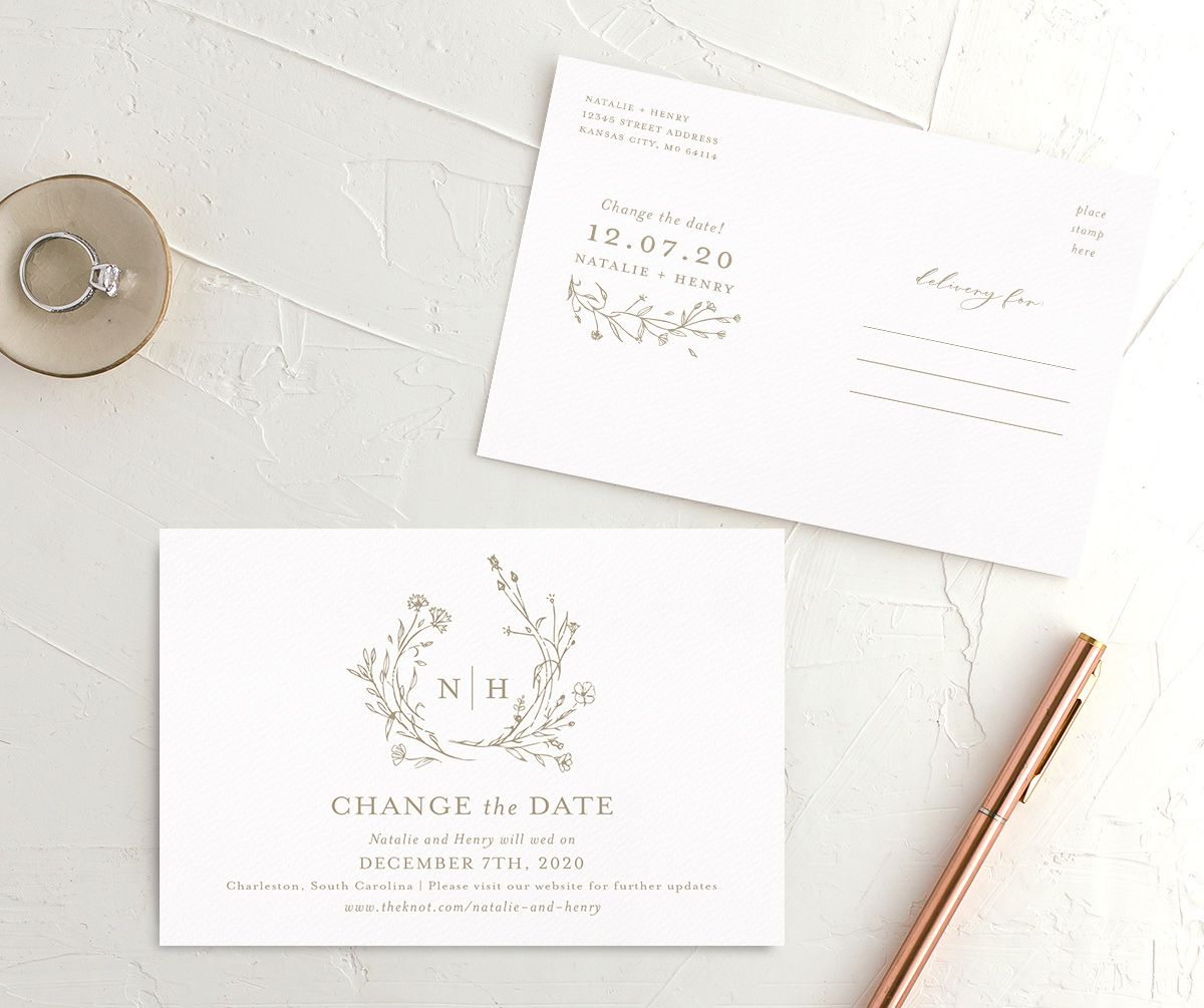 Natural Monogram Change The Date Postcards The Knot