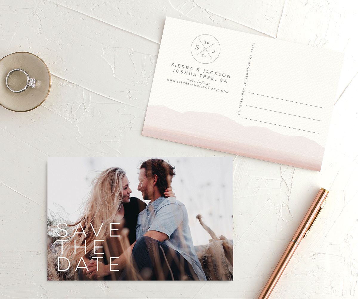 Painted Desert Save the Date Postcard Front and Back Pink