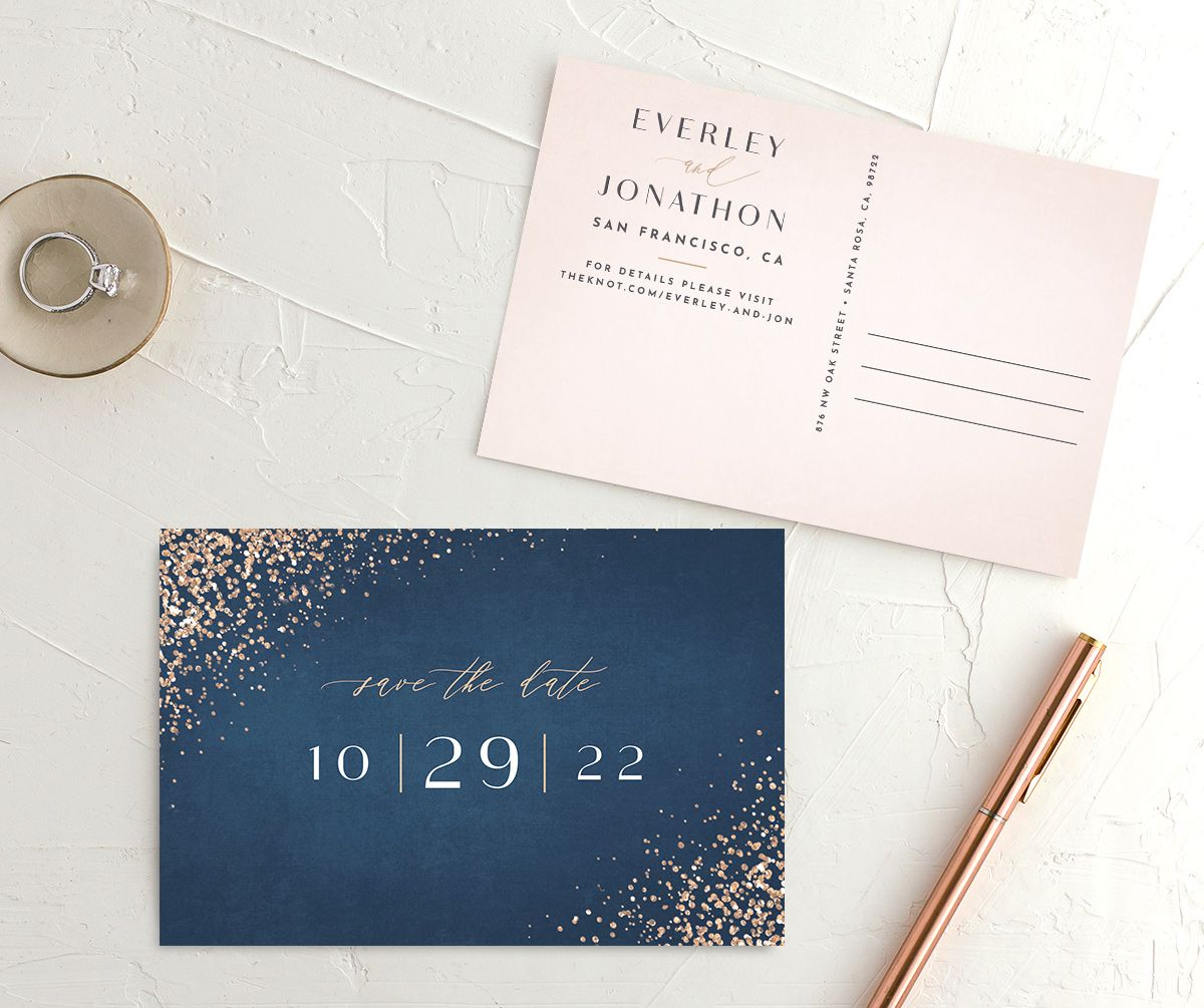 Sparkling Romance Save the Date Postcard Blue Front and Back