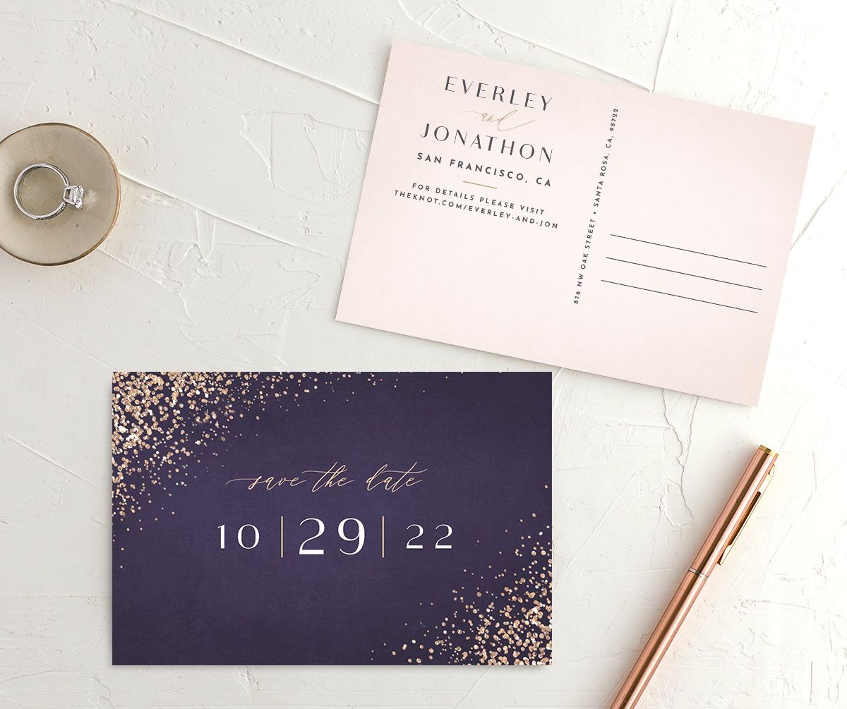 Sparkling Romance Save the Date Postcard Purple Front