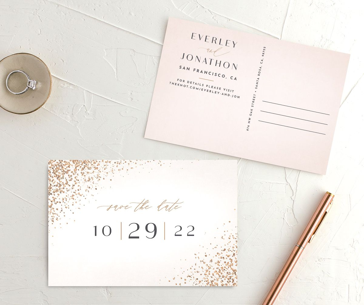 Sparkling Romance Save the Date Postcard Cream Front and Back