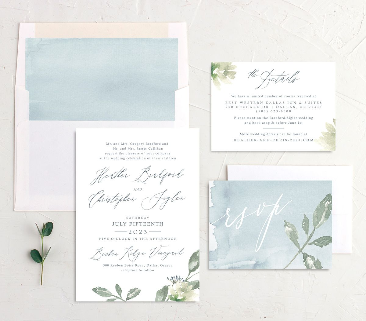 Dusted Calligraphy Wedding Suite Blue