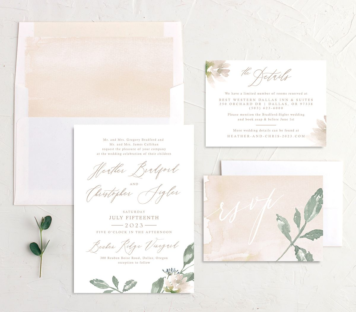 Dusted Calligraphy Wedding Suite Pink