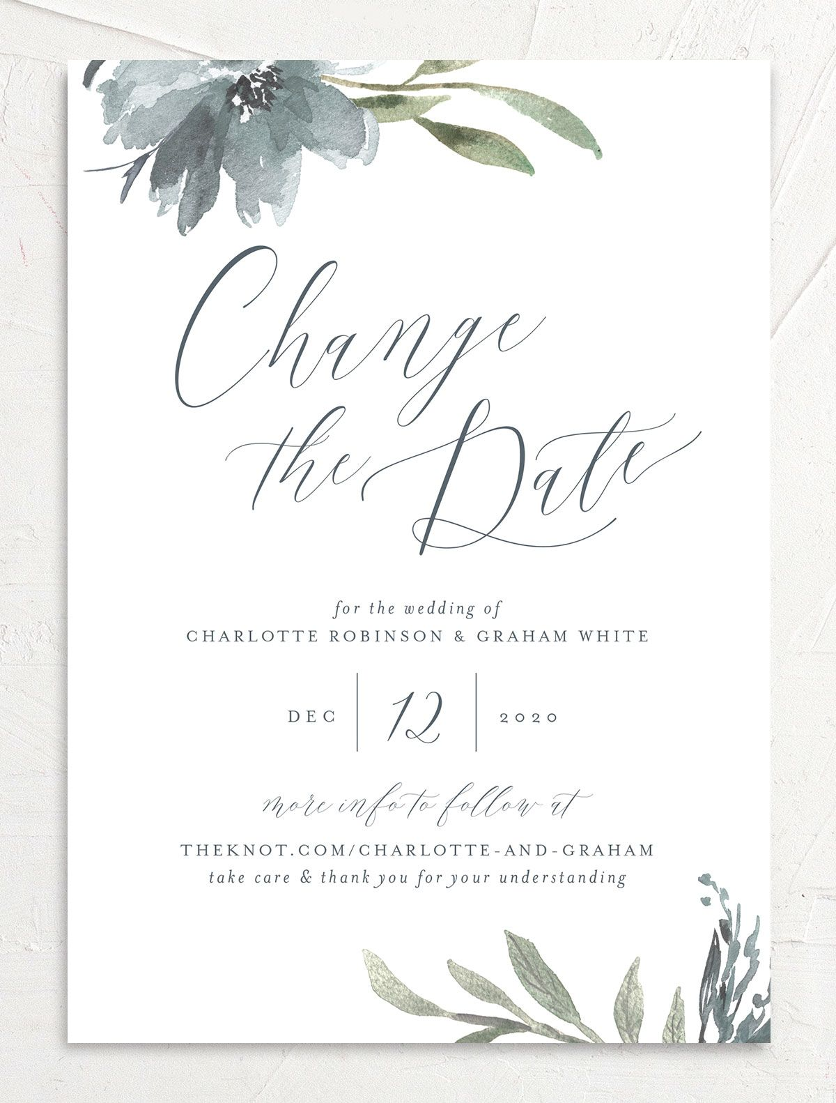 Muted Floral change the date card front blue