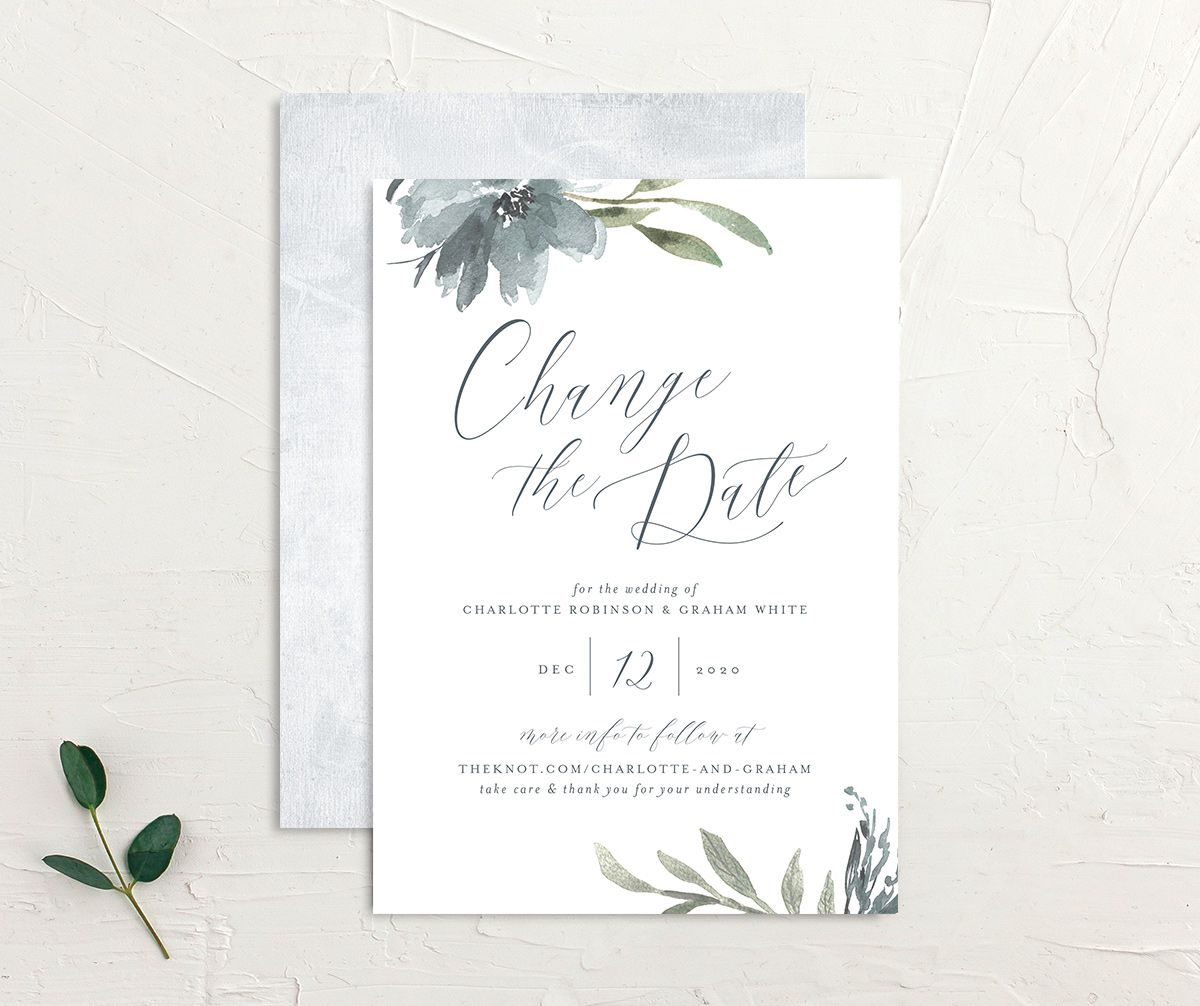 Muted Floral change the date card front and back blue