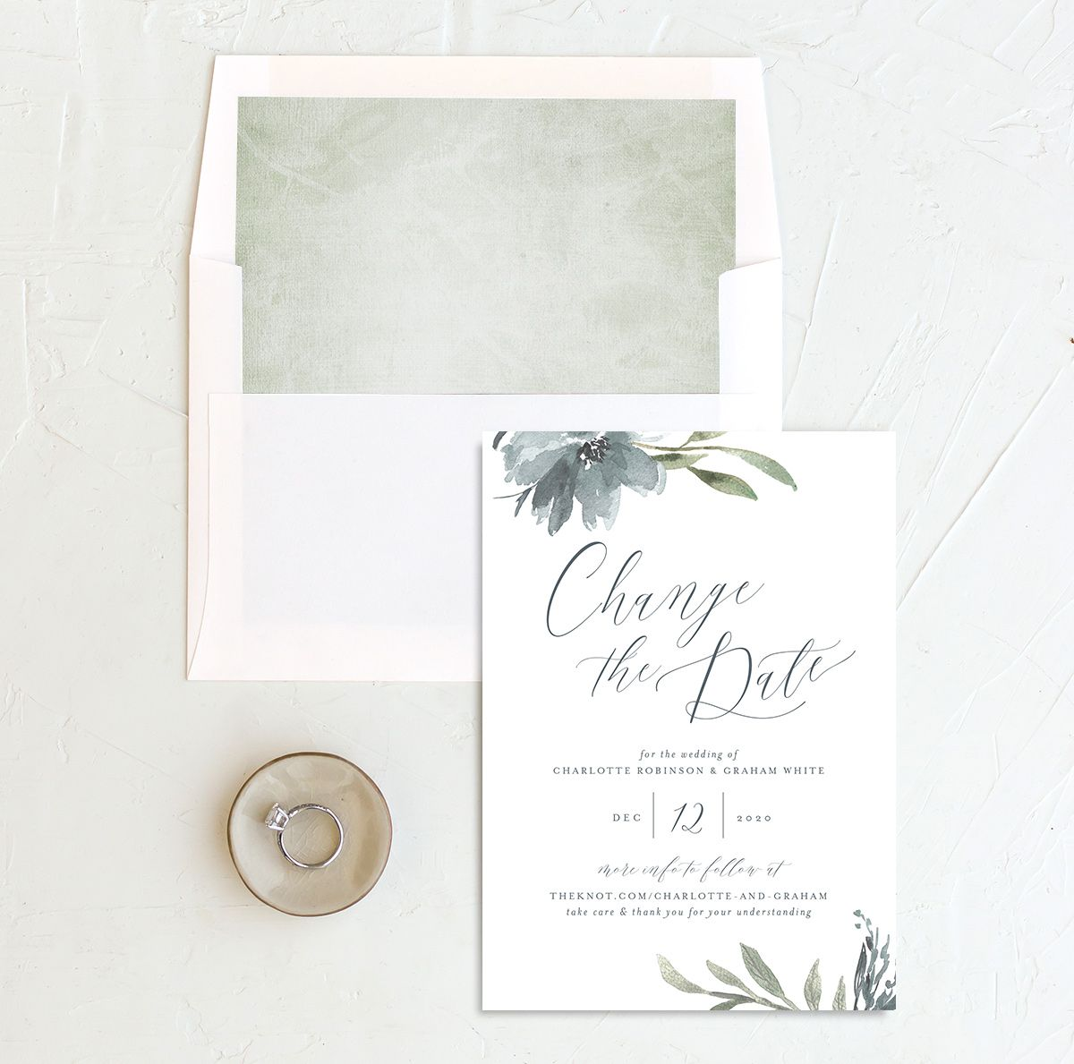Muted Floral change the date card with liner blue