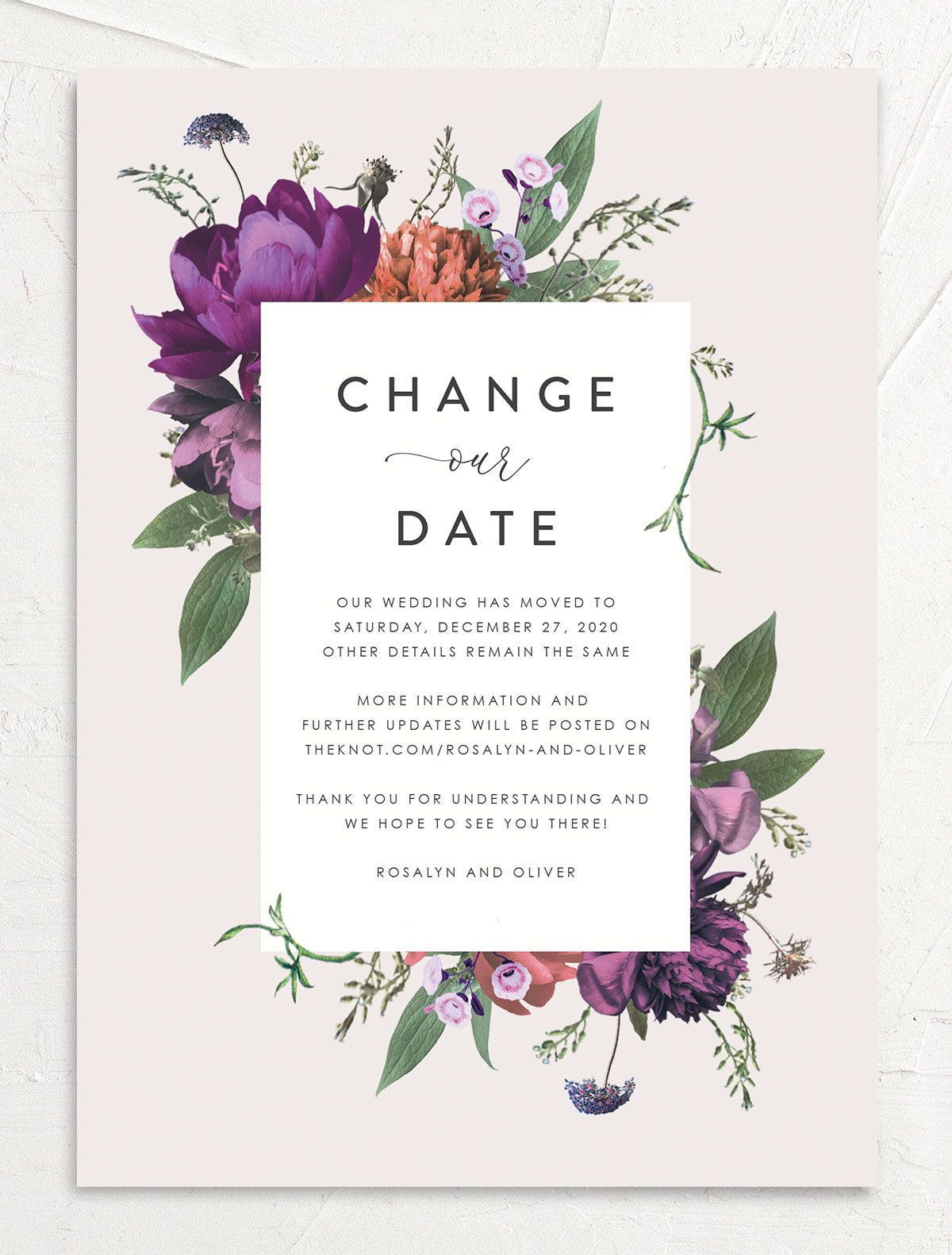 Blooming Botanical change the date front purple